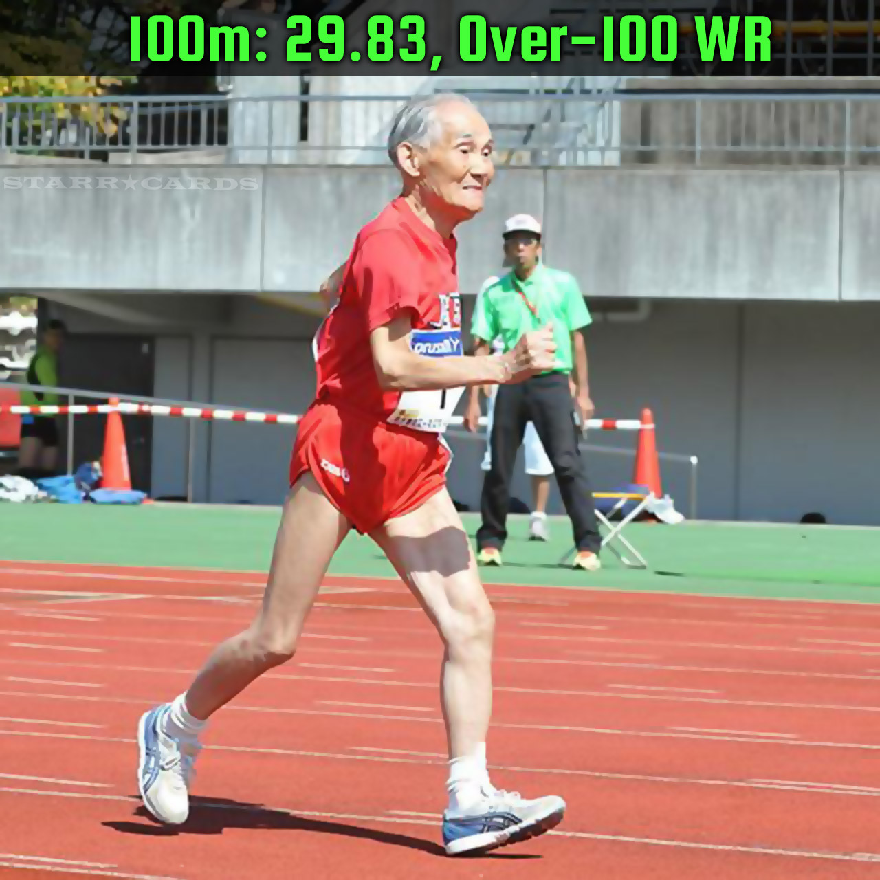 Japan's Hidekichi Miyazaki holds the 100m world record for centenarians with a time of 29.83 seconds.