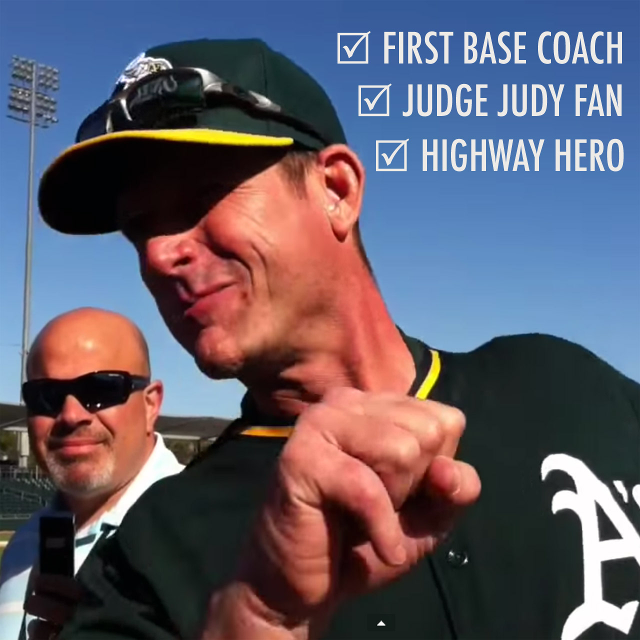Jim Harbaugh as Oakland Athletics first base coach
