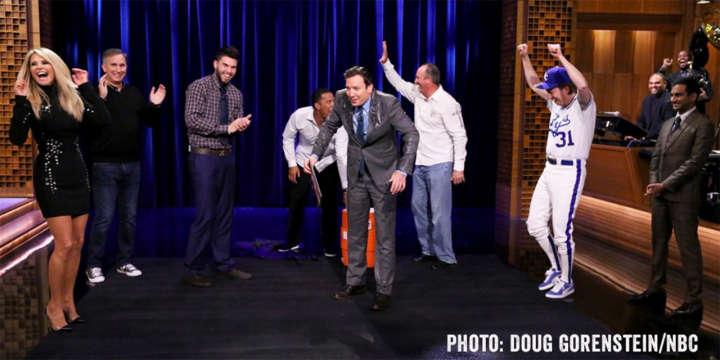 Jimmy Fallon drenched by Salvador Perez on 'Tonight Show'