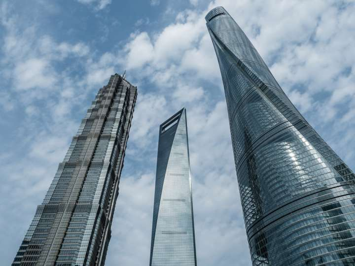 Jin Mao Tower, Shanghai World Financial Center and Shanghai Tower (from left to right)