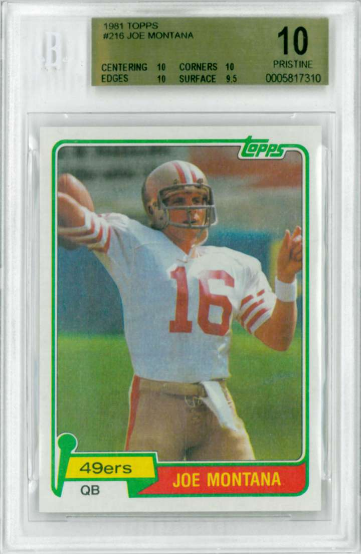 Joe Montana, 1981 Topps rookie football card