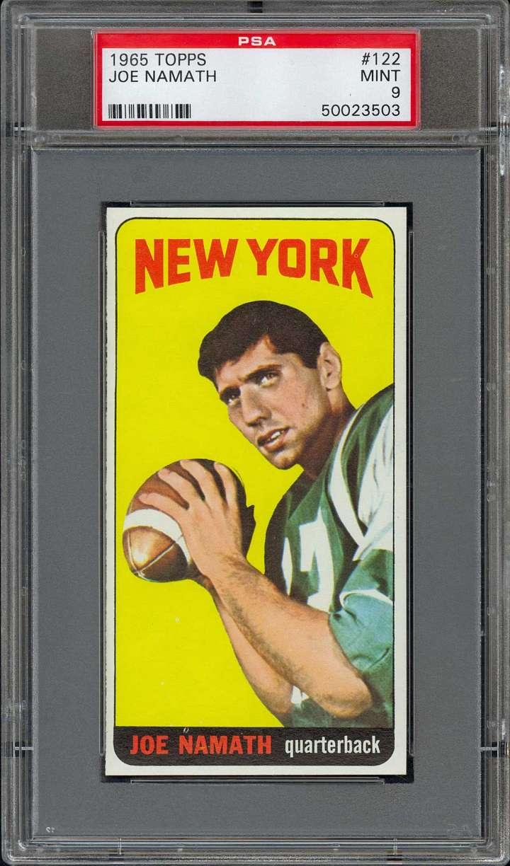 Joe Namath, 1965 Topps rookie football card