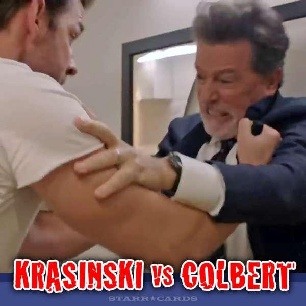 John Krasinski fights with Stephen Colbert on the 'Late Show'