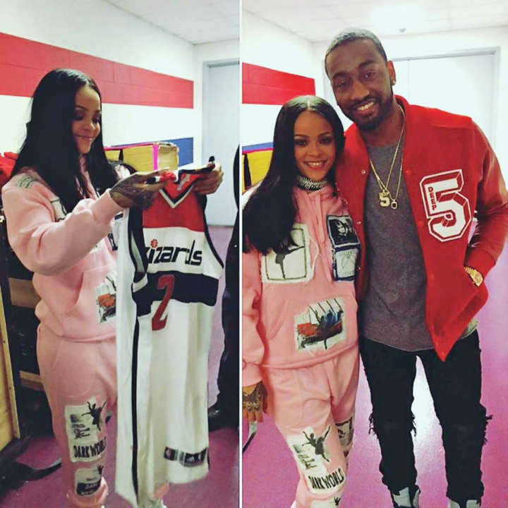 John Wall gives Rihanna a Wizards jersey