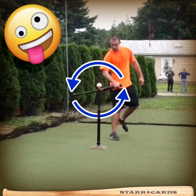 Johnny Burke demonstrates bat flipping on Vine