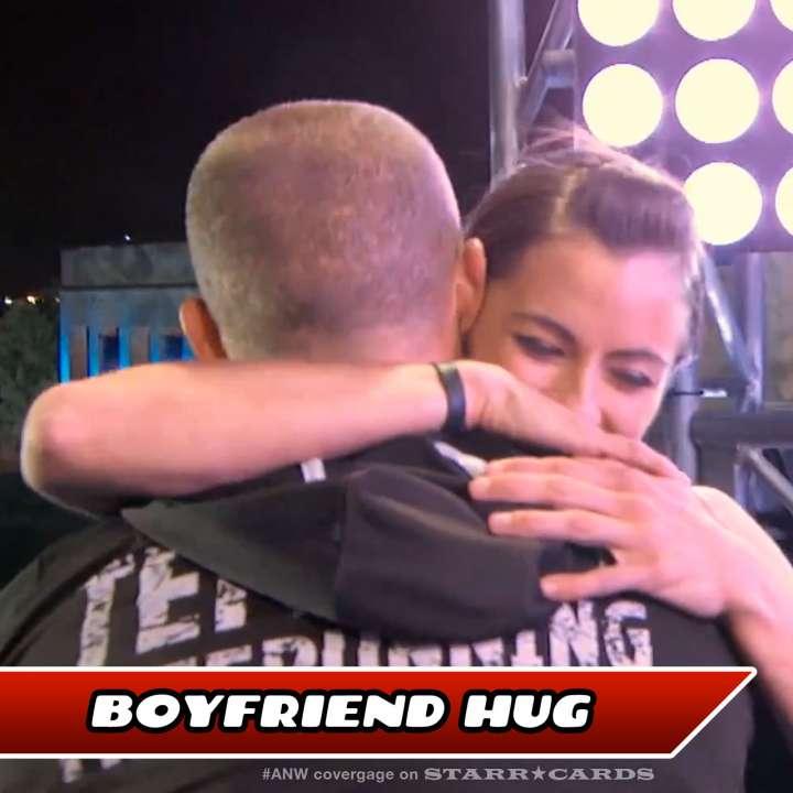 Kacy Catanzaro hugs boyfriend Brent Steffensen after completing American Ninja Warrior finals course.