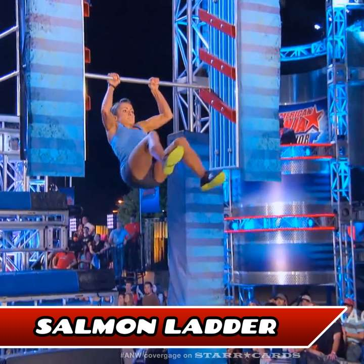Kacy Catanzaro takes on the Salmon Ladder on American Ninja Warrior.