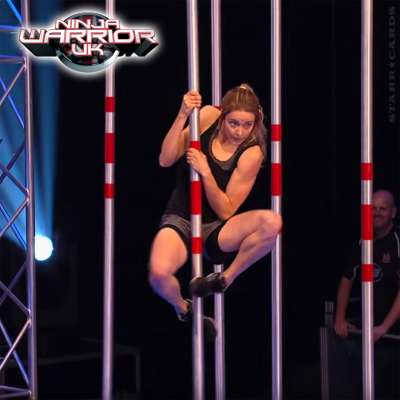 Katie McDonnell navigates the Pole Grasper obstacle on 'Ninja Warrior UK'