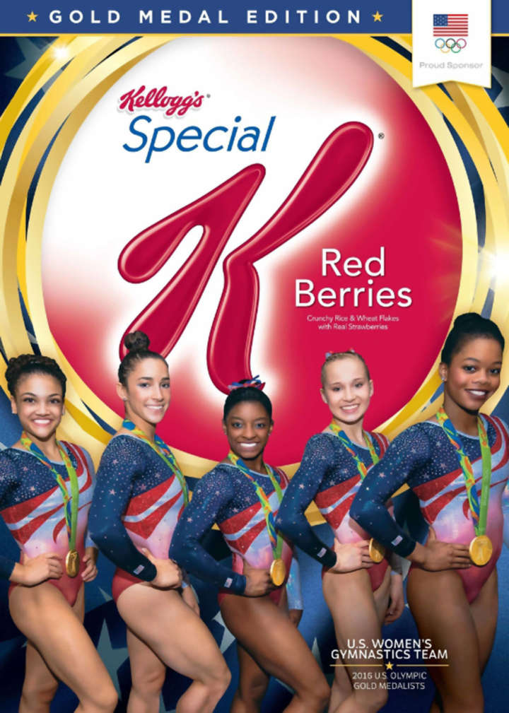 Kellogg's Special K cereal box featuring Laurie Hernandez, Aly Raisman, Simone Biles, Madison Kocian, and Gabby Douglas