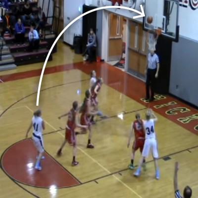 Kelsey Swartz breaks the rim on free throw