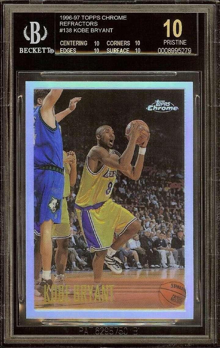 Kobe Bryant 1996-97 Topps Chrome Refractor rookie basketball card