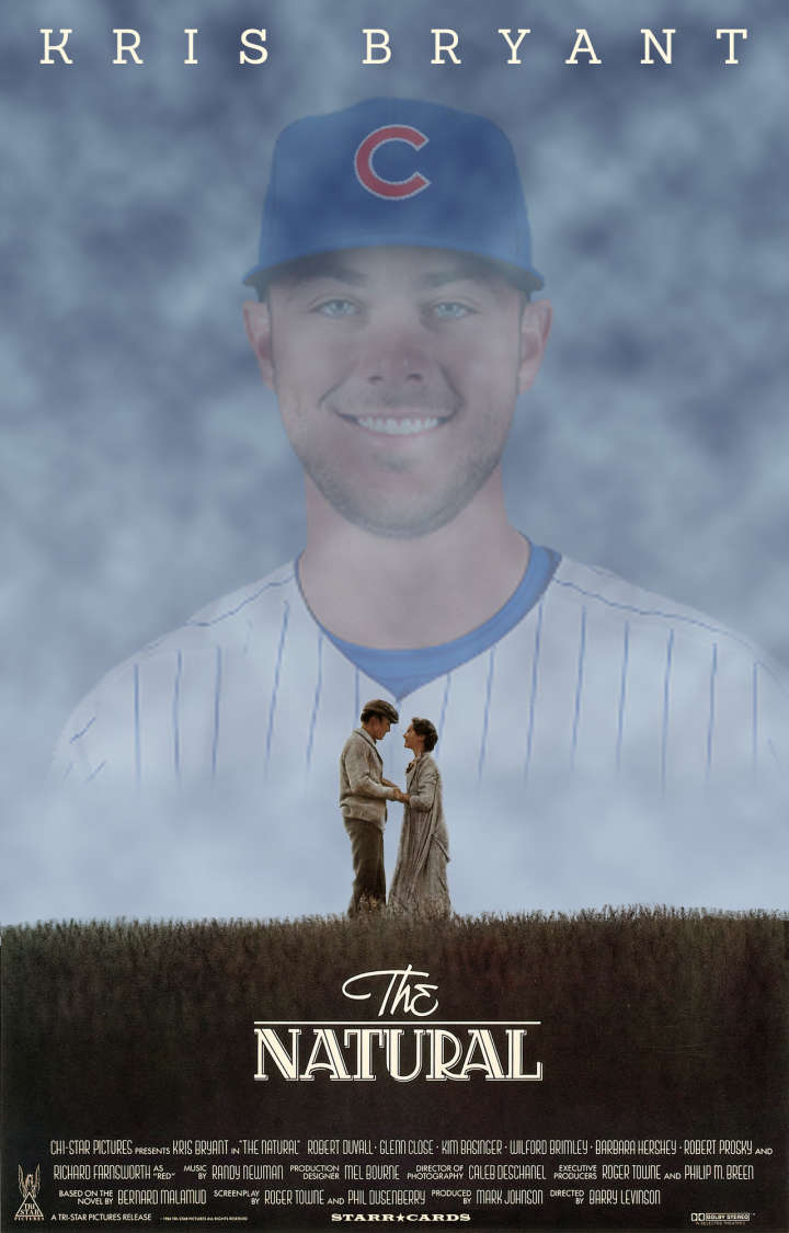 Kris Bryant replaces Robert Redford in parody of 'The Natural' movie poster