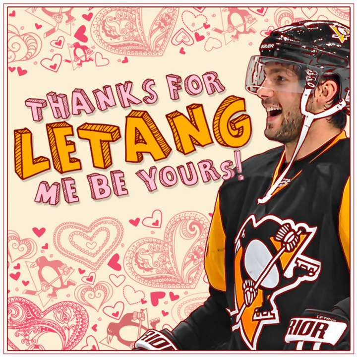 Kris Letang Valentine's Day card