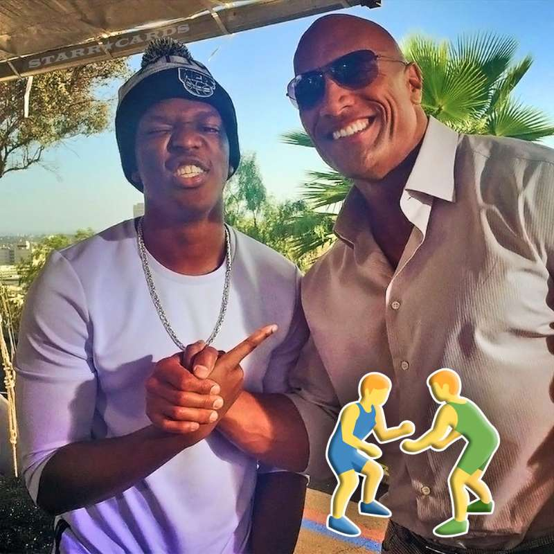 "KSI poses with Dwayne ""The Rock"" Johnson"