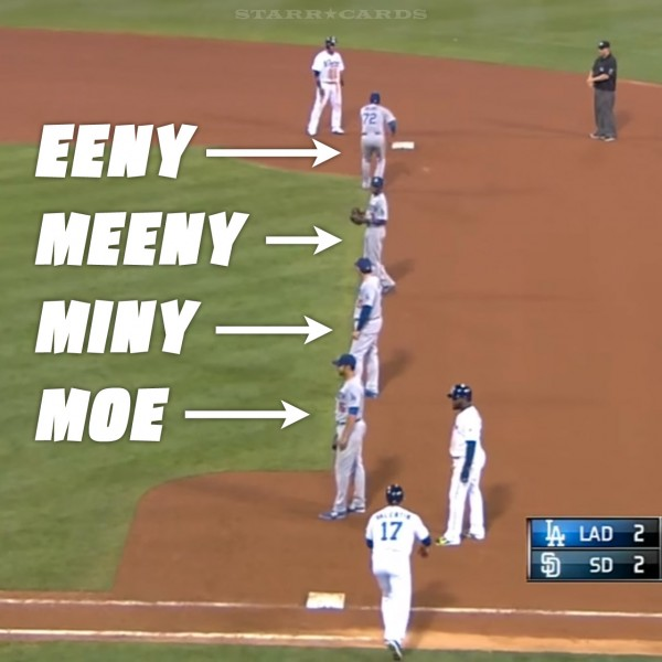 LA Dodgers employ four-man infield shift versus the San Diego Padres.