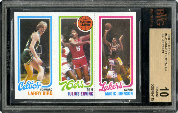 Larry Bird   Julius Erving   Magic Johnson 1980 Topps basketball card