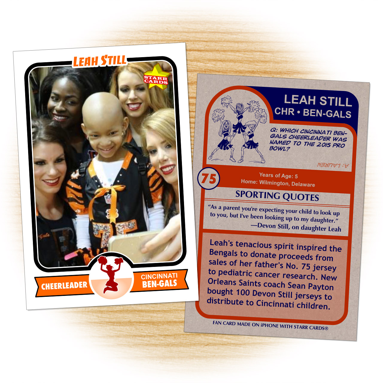 Leah Still get her own virtual Ben-Gals cheerleader trading card