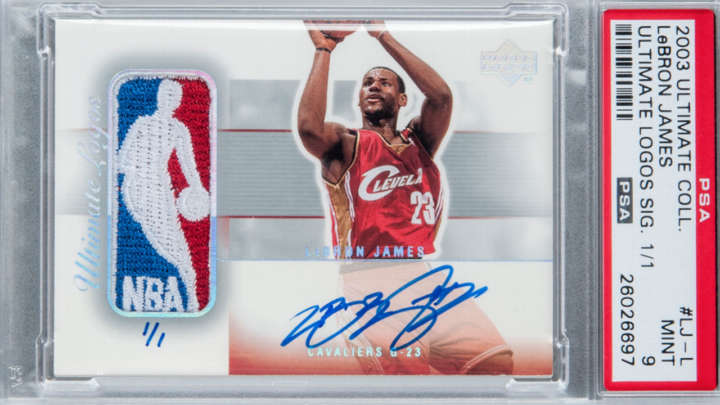 LeBron James 2003 Upper Deck Ultimate Logos Signature 1/1 rookie basketball card