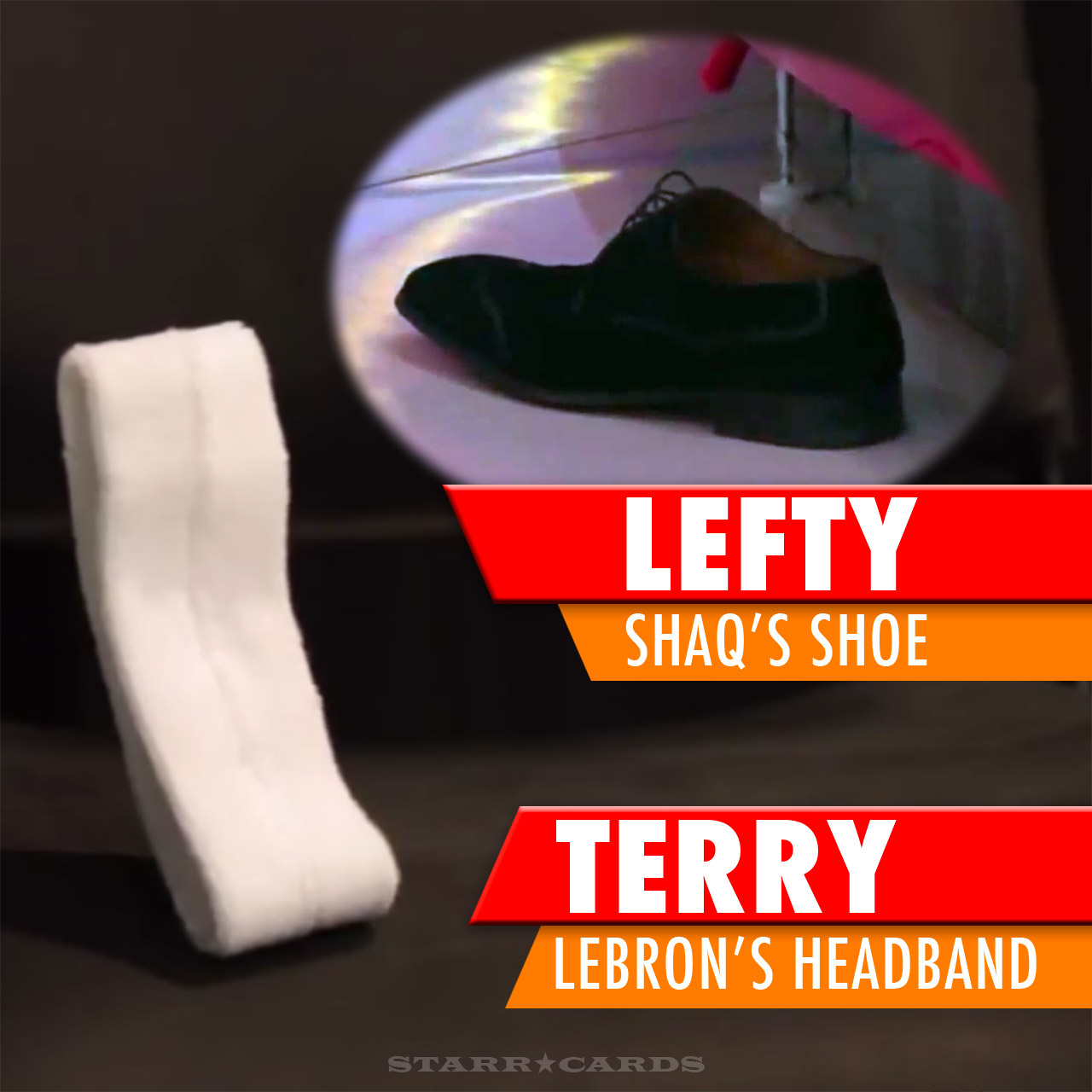 LeBron's headband and Shaq's shoe