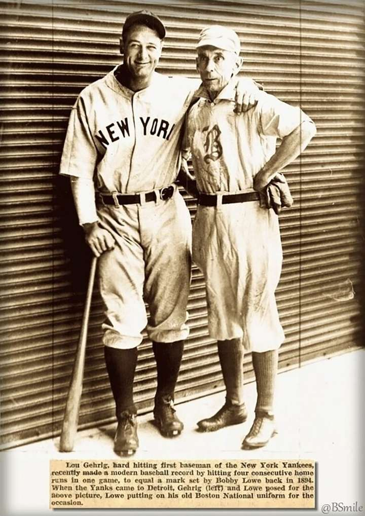 Longtime Boston Beaneaters second baseman Bobby Lowe poses with NY Yankees star Lou Gehrig
