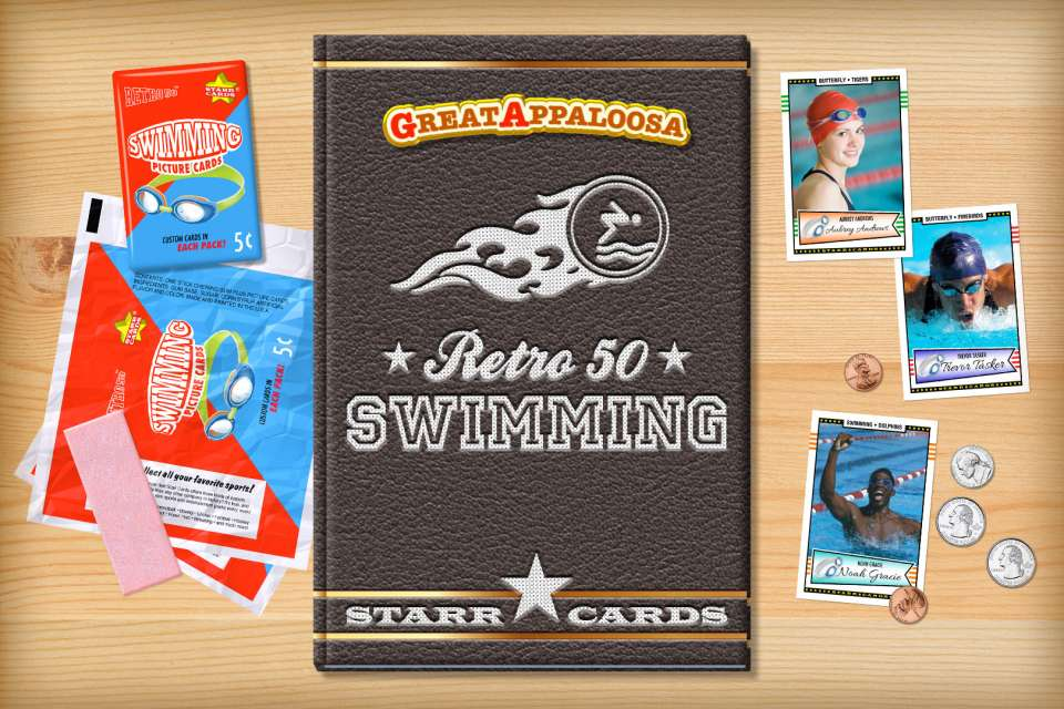Make your own retro swimming card with Starr Cards.