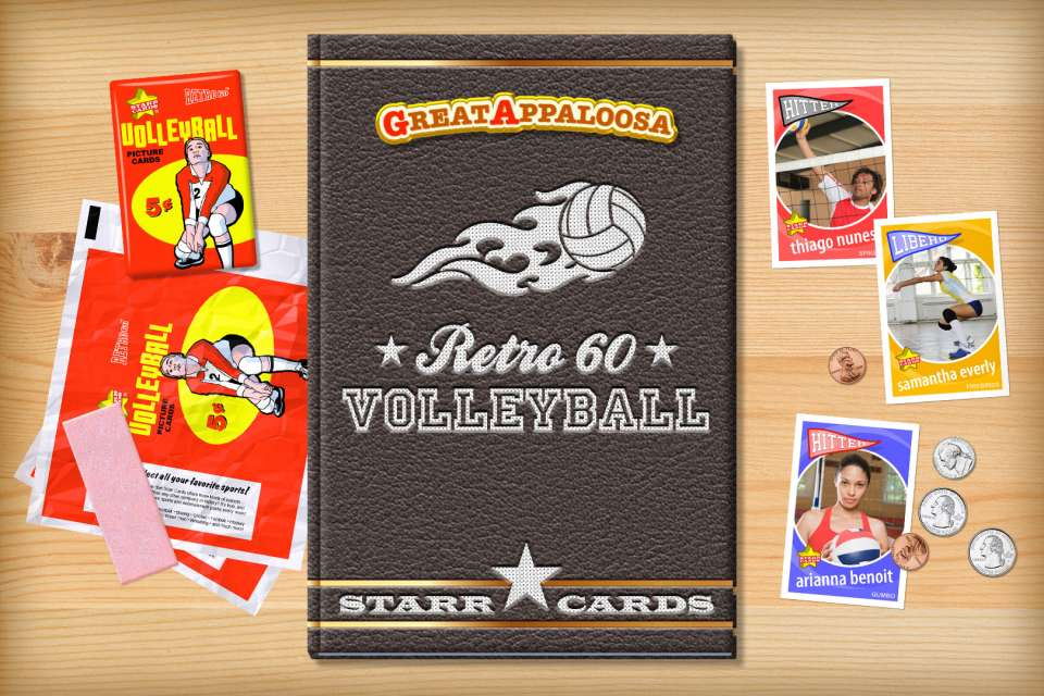 Make your own retro volleyball card with Starr Cards.