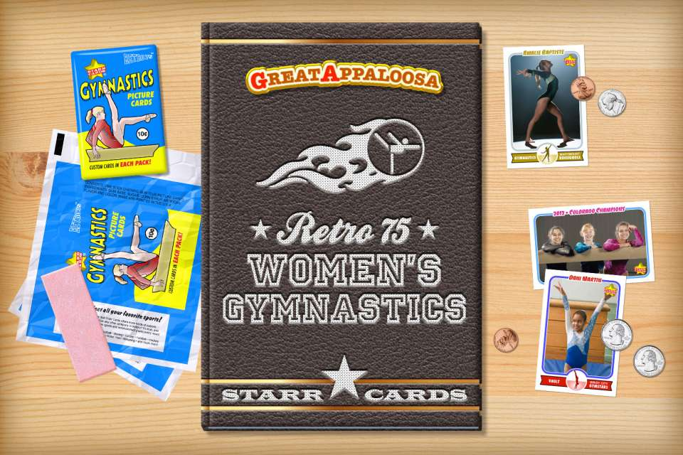 Make your own retro gymnastics card with Starr Cards.