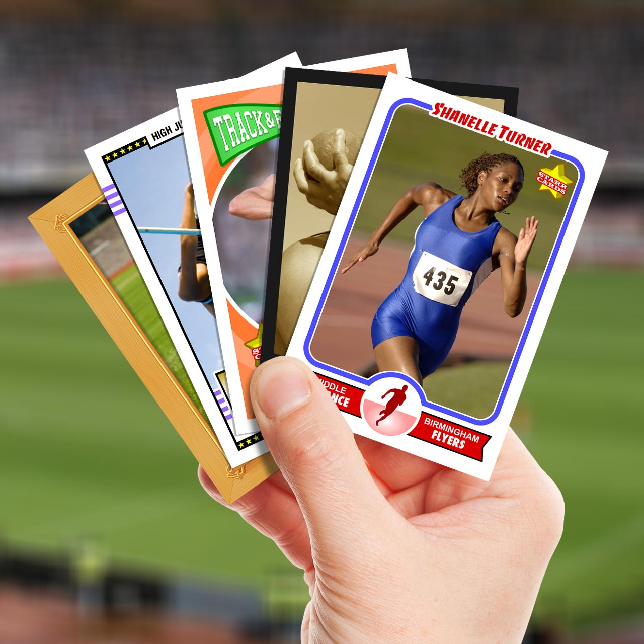 Make your own track and field card with Starr Cards.