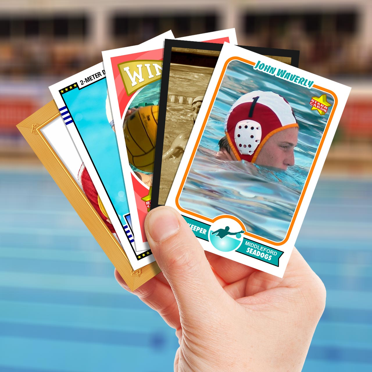 Make your own water polo card with Starr Cards.
