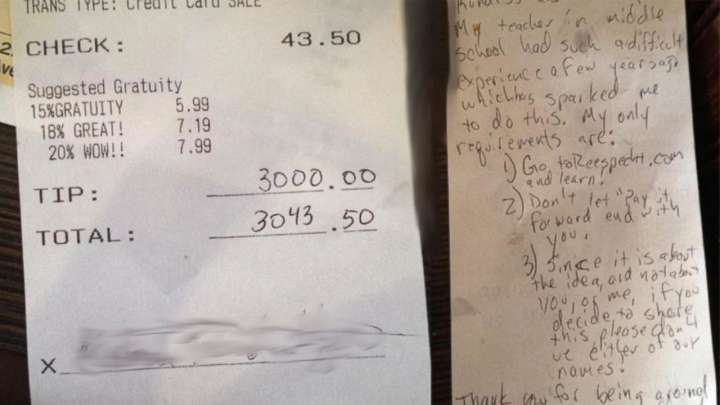 Man leaves 3000 dollar tip to pay it forward movement Reespecht Life