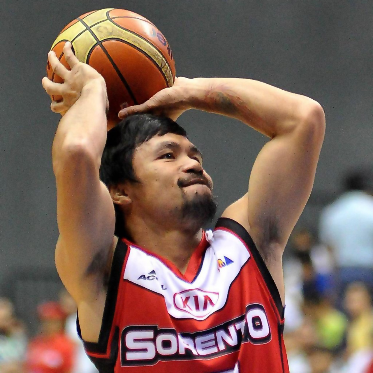 Manny Pacquiao Prepares to shoot the basketball for Kia Sorento