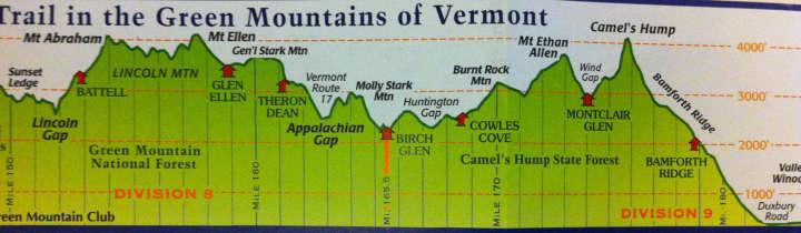 Map of Long Trail, Vermont