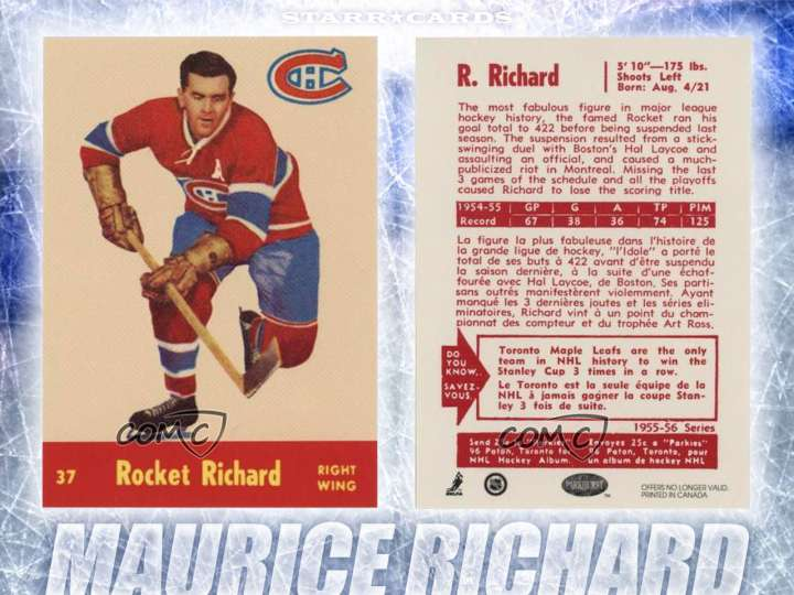 Maurice Richard Montreal Canadiens hockey card