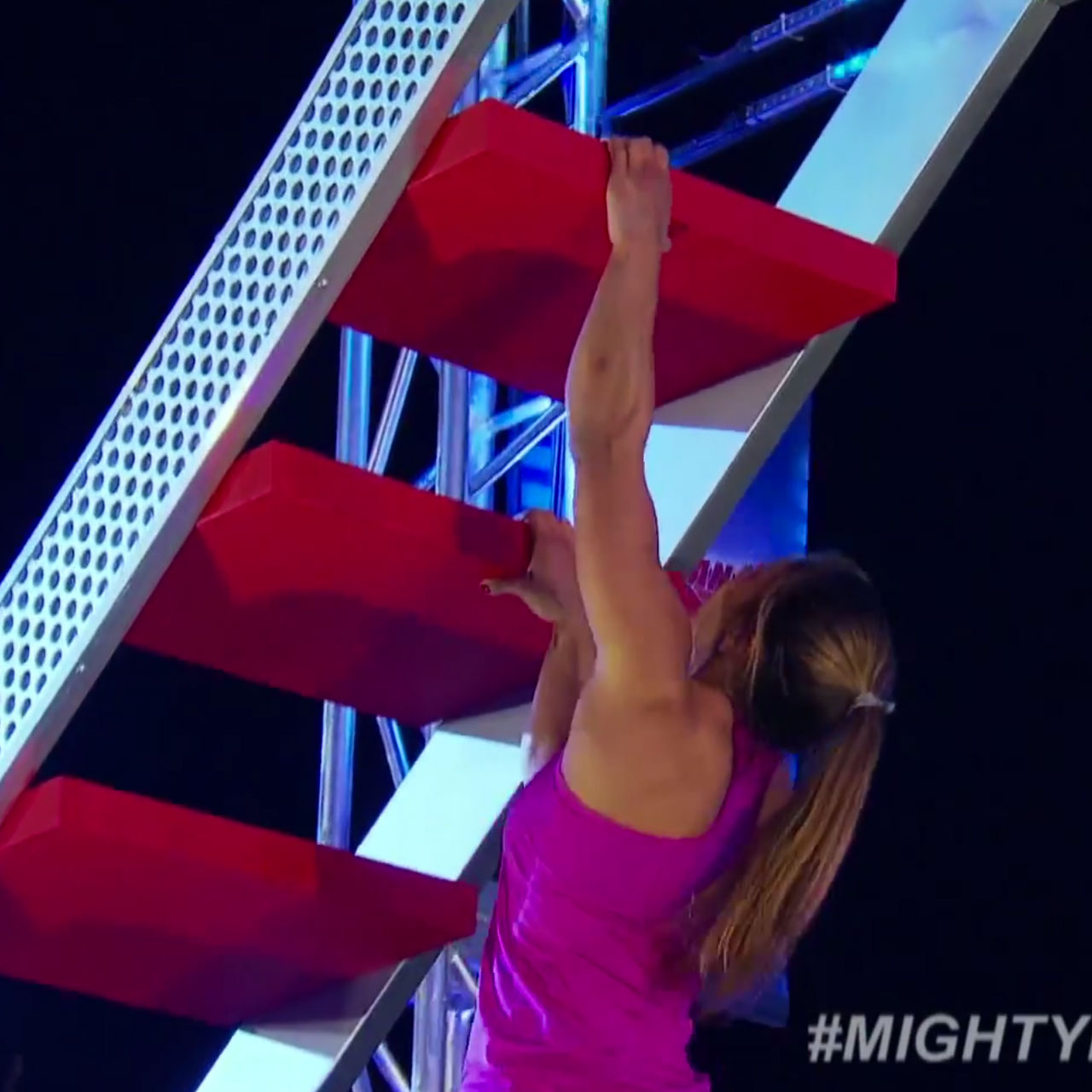 Meagan Martin on the devil stairs at American Ninja Warrior.