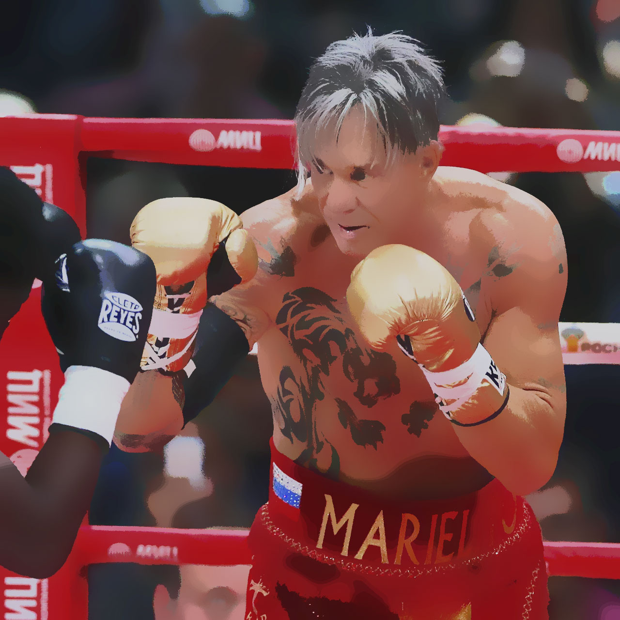 Mickey Rourke Boxing in Russia