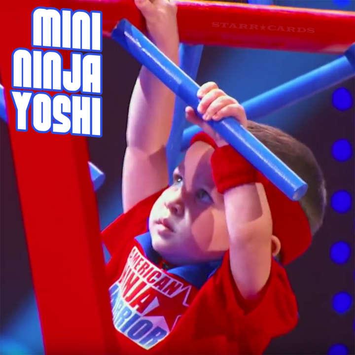 Mini-Ninja Yoshi (aka Baby Ninja) practices parkour on Little Big Shots