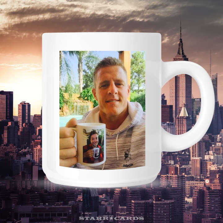 Mug of J.J. Watt holding mug of Jimmy Fallon holding mug of Justin Timberlake holding mug of Jimmy Fallon