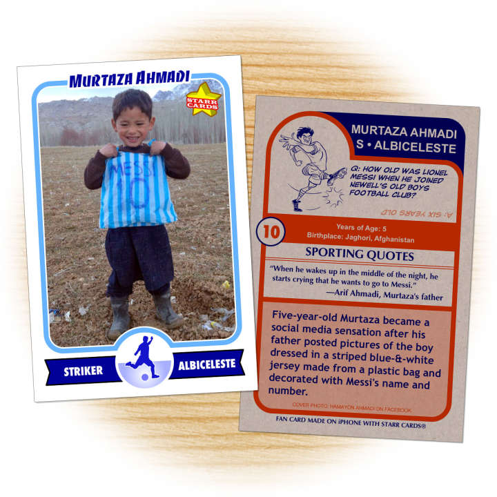 Murtaza Ahmadi fan card with Lionel Messi plastic-bag jersey