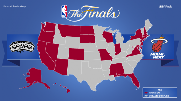 Map showing team preference by state for NBA Finals.