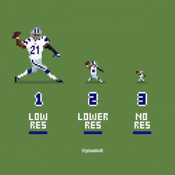 NFL pixel art of Ezekiel Elliott at three resolutions