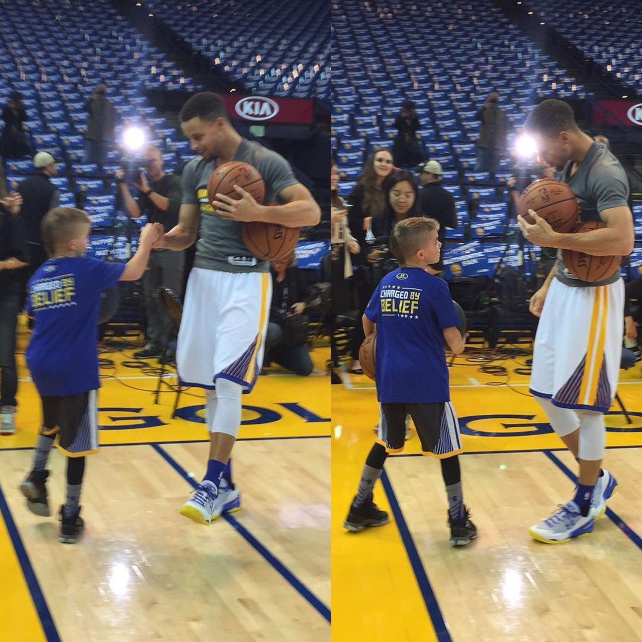 Noah Cutler aka Baby Birdman meets Steph Curry