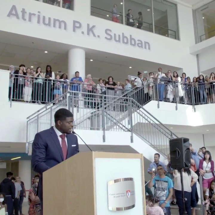 P.K. Subban Atrium at the Montreal Children's Hospital