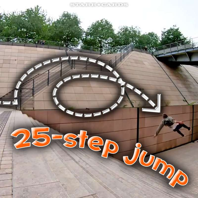 Parkour pro Dominic Di Tommaso jumps down 25-step stairway in Lyon, France