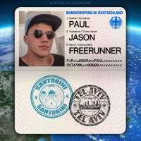 Passport from Santorini, Greece to Tel Aviv, Israel for German freerunner Jason Paul