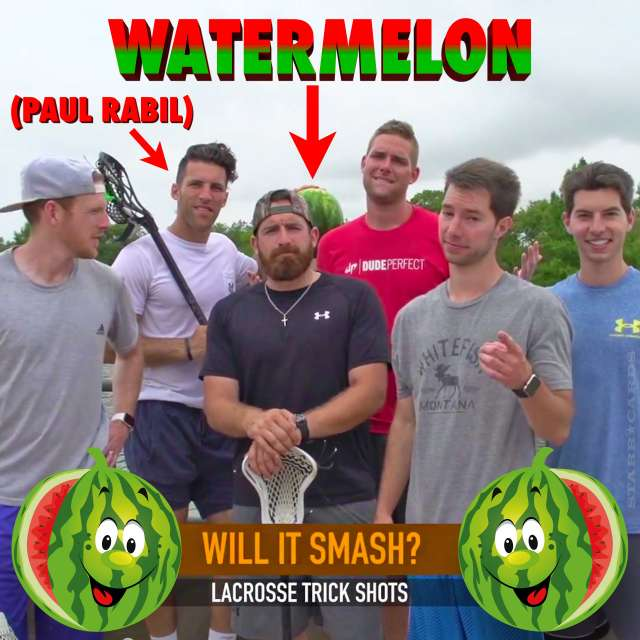 Paul Rabil poses with Dude Perfect and a watermelon