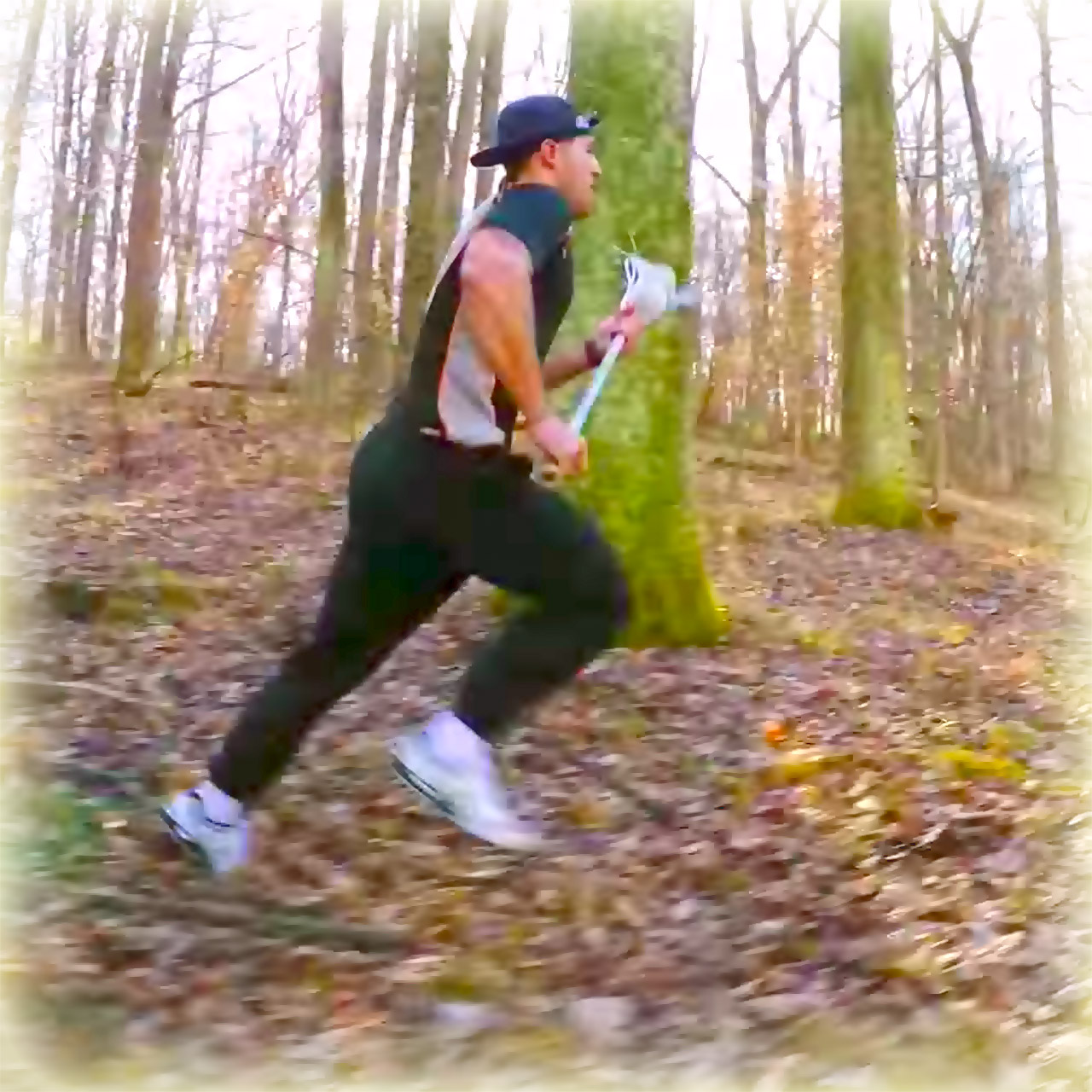 New York Lizards lacrosse star Paul Rabil runs in the woods with GoPro