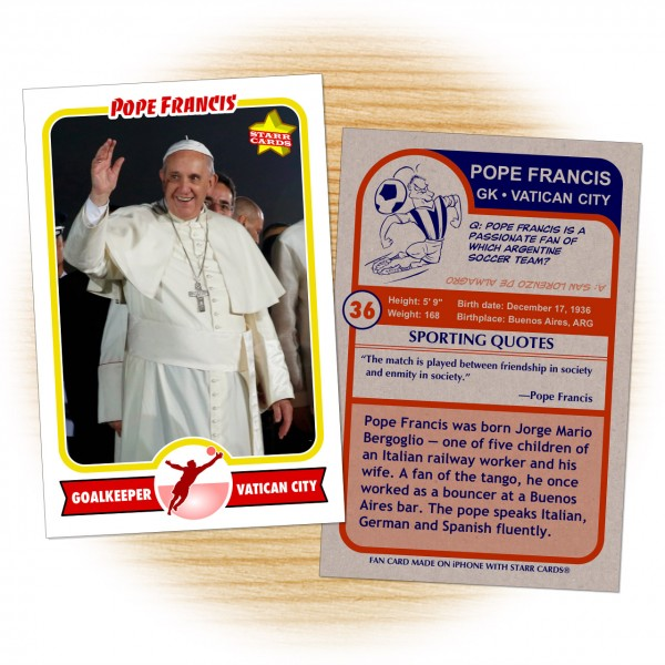 Pope Francis rookie soccer card