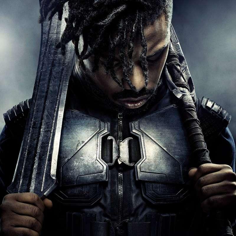 """Poster of Michael B. Jordan as Erik """"Killmonger"""" Stevens from 'Black Panther'"""