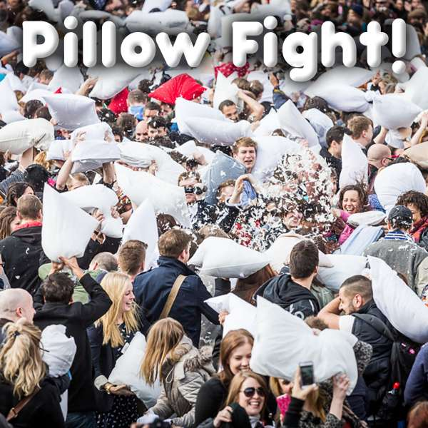 Public pillow fight on International Pillow Fight Day