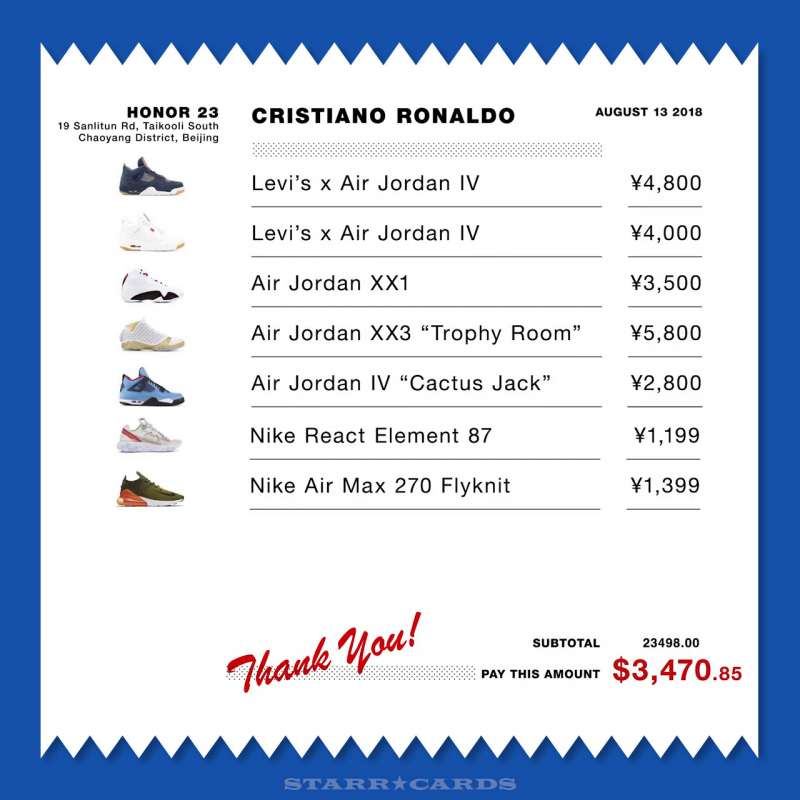 Receipt from Cristiano Ronaldo's shoe shopping spree in Beijing, China